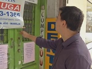 Sala comercial no centro de Marília seria escritório da empresa Eviva (Foto: Reprodução/TVTEM)