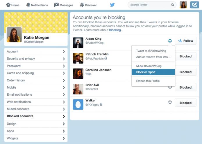 Nova página do Twitter permite gerenciar contas bloqueadas (foto: Reprodução/Twitter)