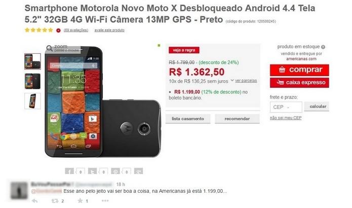 Consumidor comemora oferta do Novo Moto X na Americanas.com (Foto: Reprodução/Twitter)