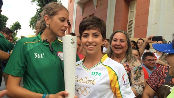 Revezamento da Tocha Olímpica - Mossoró-RN - Aline de Paula (Foto: Augusto Gomes/GloboEsporte.com)