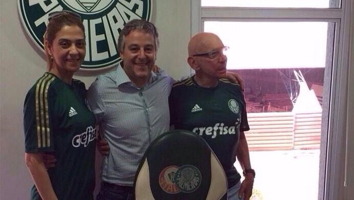 Leila Pereira, Paulo Nobre e José Roberto Lamacchia, representantes de Palmeiras e Crefisa (Foto: Divulgação)
