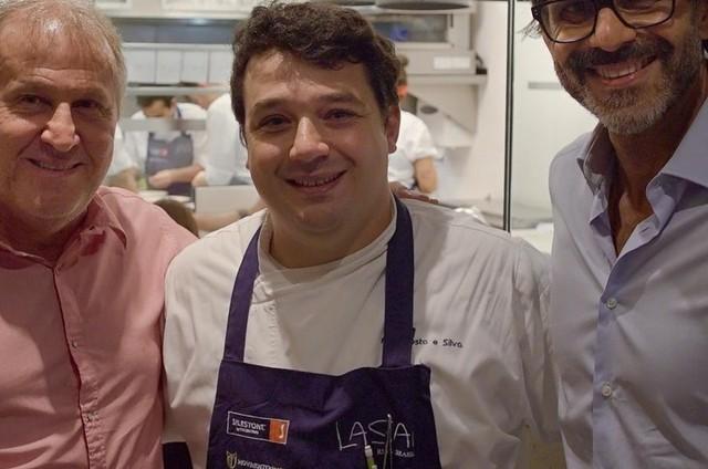 Zico, Rafa Costa e Silva e Alberto Renault numa gravação do 'Chefs brasileiros' (Foto: Bruno Prada)