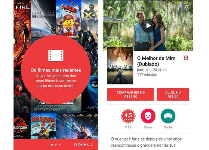 Google Play filmes tem títulos para vender e alugar (Foto: Reprodução/Barbara Mannara)