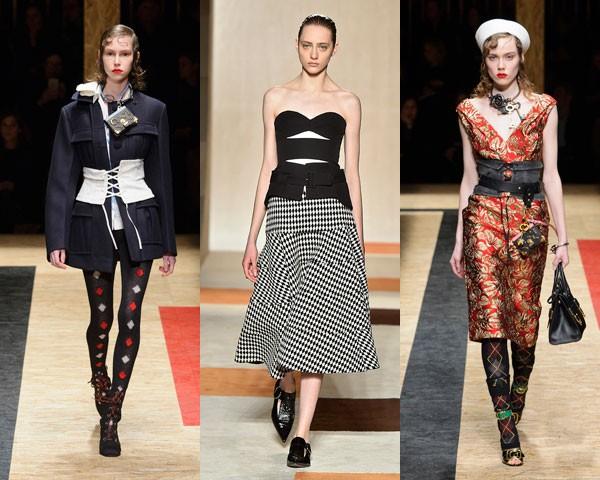 Prada e Victoria Beckham apresentaram novas versões do corset (Foto: Imaxtree/Getty Images)
