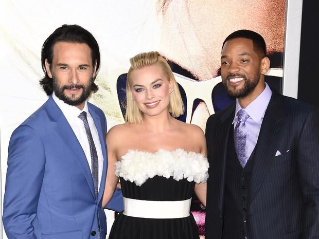 Rodrigo Santoro, Margo Robbie e Will Smith em première de filme em Los Angeles, nos Estados Unidos (Foto: Robyn Beck/ AFP)