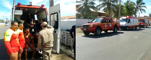 Resgates foram feitos na praia da Redinha Nova, no litoral Norte de Nartal (Foto: Divulgação/Corpo de Bombeiros do RN)