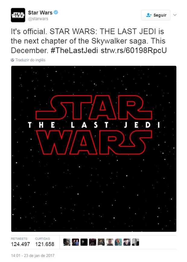 Título do no episódio VIII de Star Wars é confirmado (Foto: Reprodução/Twitter)