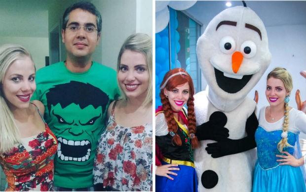'Antes e depois' de Natália, Nayara e Valmir, intérpretes dos personagens do filme 'Frozen' (Foto: Nayara Bittencourt/Arquivo pessoal)