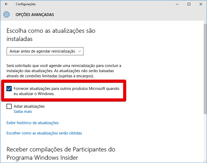 Configurando o Windows Update (Foto: Felipe Alencar/TechTudo)