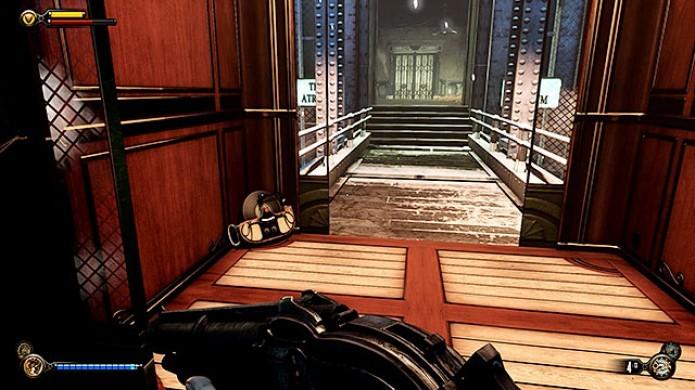 Bioshock Infinite: ao chegar no elevador, existirão dois Voxophones, mas apenas um poderá ser pego, por enquanto (Foto: Reprodução/Game Pressure)