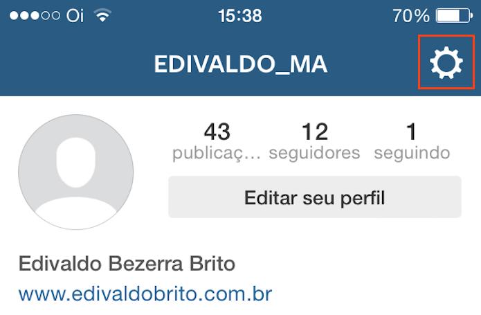 Acessando as opções no app do Instagram (Foto: Reprodução/Edivaldo Brito)