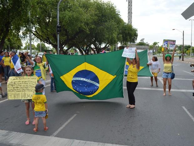 Manifestantes levaram bandeira em ato contra governo (Foto: Marcelo Marques/ G1 Roraima)