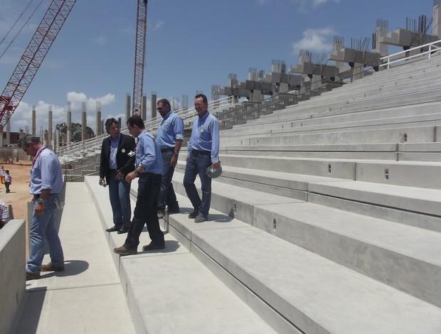 Primeira arquibancada da Arena das Dunas 2 (Foto: Matheus Magalhães/Globoesporte.com)