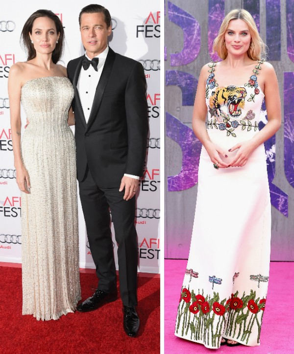 Angelina Jolie, Brad Pitt e Margot Robbie (Foto: Getty Images)