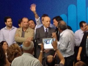 Serra durante evento nesta segunda-feira em SP (Foto: Marcelo Mora/G1)
