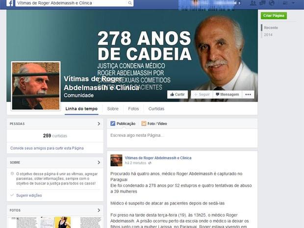 Pefil da associação de vítimas divulga nota sobre a prisão  (Foto: Reprodução Facebook)