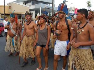 Protesto indígina na Paraíba (Foto: Jorge Machado/G1)