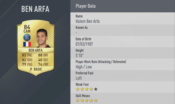 Fifa 17: Ben Arfa manteve suas cinco estrelas de finta (Foto: Divulgação/EA)