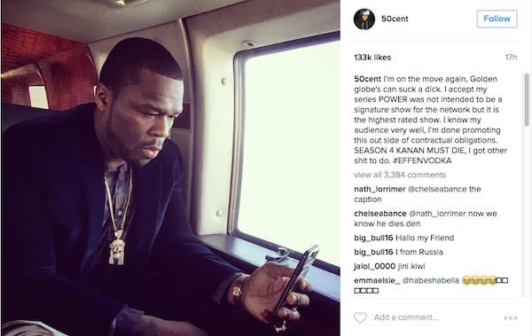 O desabafo do rapper 50 Cent contra os Globos de Ouro (Foto: Instagram)