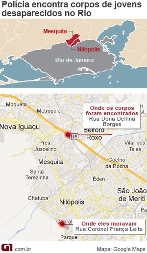 Veja onde foram encontrados os corpos dos seis jovens desaparecidos em Mesquita, no Rio de Janeiro (Foto: Editoria de Arte/G1)