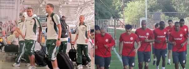 Equipe do Fluminense embarca para Porto Alegre; Internacional treina seus jogadores (Foto: Rafael Cavalieri / Tomás Hammes / Globoesporte.com)