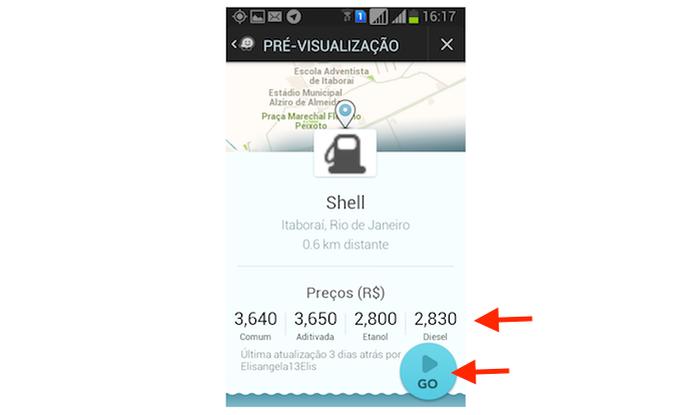 Verificando os preços de combustível praticados por um posto de gasolina através do Waze para  (Foto: Reprodução/Marvin Costa)