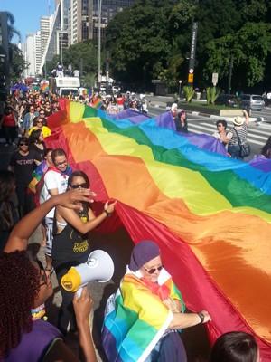 Caminhada reúne lésbicas e bissexuais na Avenida Paulista (Foto: Mariana Palma/G1)