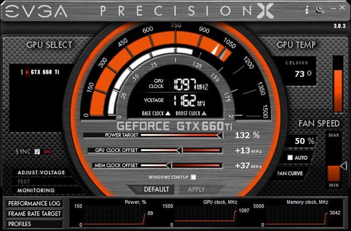 Aplicativo da EVGA serve para fazer overclock nas placas de vídeo da marca (Foto: Reprodução/Guru3D)