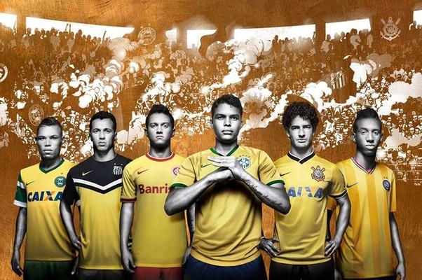 As amarelinhas: camisas de times brasileiros ganharam a cor amarela (Foto: Divulgação)