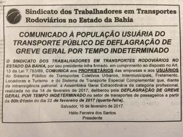 Sindicato dos rodoviários anunciam greve para o dia 22 de fevereiro (Foto: Reprodução)