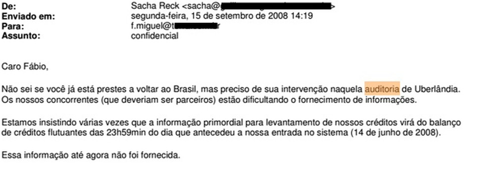 Trecho de e-mail de Sacha Reck sobre edital de Uberlândia, em Minas Gerais (Foto: Reprodução)