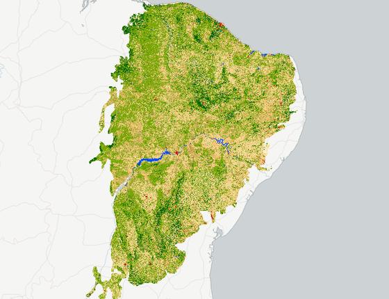 O mapa mostra a área da Caatinga em 2016. Os trechos em verde escuro são de vegetação mais densa. O verde claro são áreas com cobertura mais rala (Foto: MapBiomas)