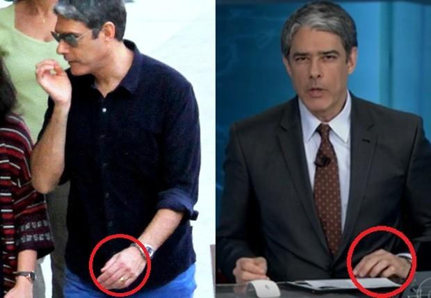 William Bonner em julho e um dia após anúncio de separação (Foto: AgNews e Reprodução/TV Globo)