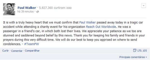 Representante do ator confirmando a morte no Facebook (Foto: Reprodução/Facebook)