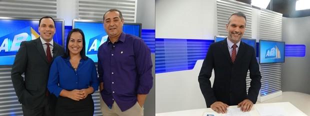 Almir Vilanova, Renata Torres e Eri Santos (apresentadores do ABTV 1ª Edição) e Alexandre Farias (apresentador do ABTV 2ª Edição) (Foto: Paula Cavalcante/Renata Araújo/G1/Montagem)