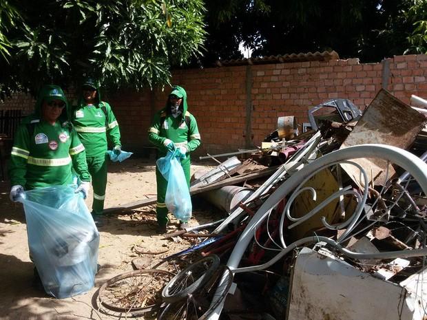 Os voluntários realizaram inspeção nos quintais para eliminar os focos do mosquito (Foto: Neidiana Oliveira/G1)