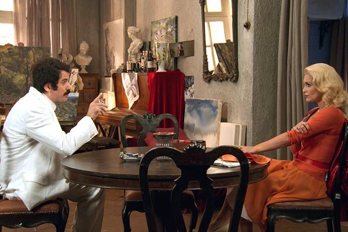 Ernesto e Sandra tramam mais um plano para ficar com a fortuna de Cunegundes (Foto: TV Globo)