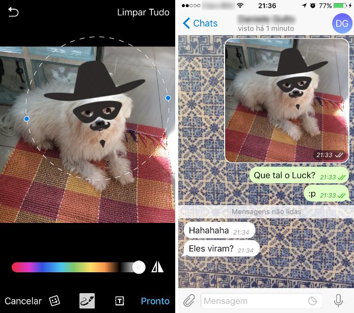 O pacote de máscaras estará no edição de imagens do Telegram e poderá ser compartilhado (Foto: Reprodução/Daniel Ribeiro)