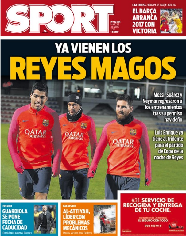 Capa Sport Reis Magos Messi Neymar Suarez