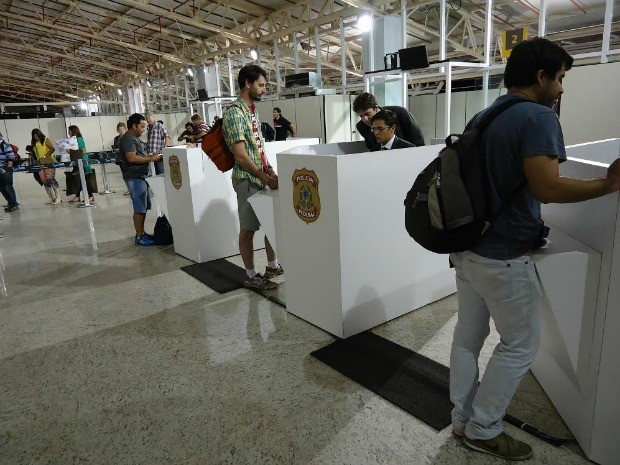 PF deu início ao controle de imigração no Aeroporto Marechal Rondon (Foto: Divulgação/PF)