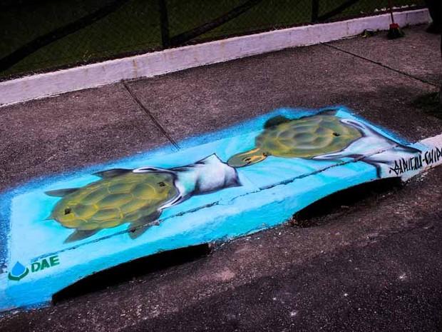 Boca de lobo com grafite (Foto: Robson de Almeida/Prefeitura Municipal de São Caetano do Sul)