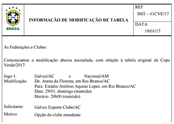 Duelo entre Galvez e Nacional-AM,, na estreia da Copa Verde,  será disputado no Florestão (Foto: CBF/Divulgação)