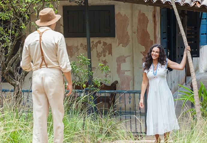 Romance: Candinho e Filomena crescem juntos na fazenda e se apaixonam (Foto: Artur Meninea/Gshow)