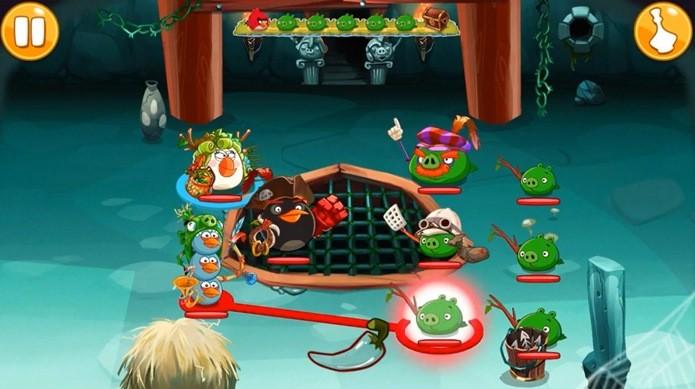 Os combates de Angry Birds Epic são simples  (Foto: Reprodução / Dario Coutinho)