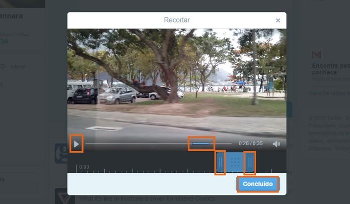 Edite o trecho do vídeo que preferir, pela barra de controle azul (Foto: Reprodução/Barbara Mannara)