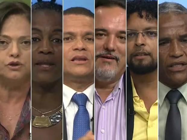 Candidatos à prefeitura de Salvador (na foto por ordem alfabética) participaram de debate na TV (Foto: Reprodução/TVE)