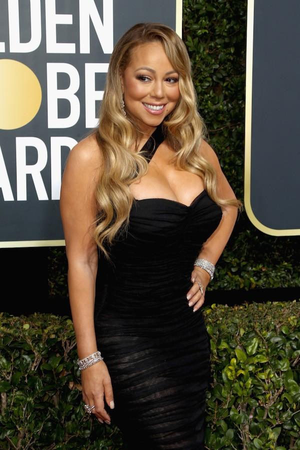 A cantora Mariah Carey no Globo de Ouro 2018 (Foto: Getty Images)
