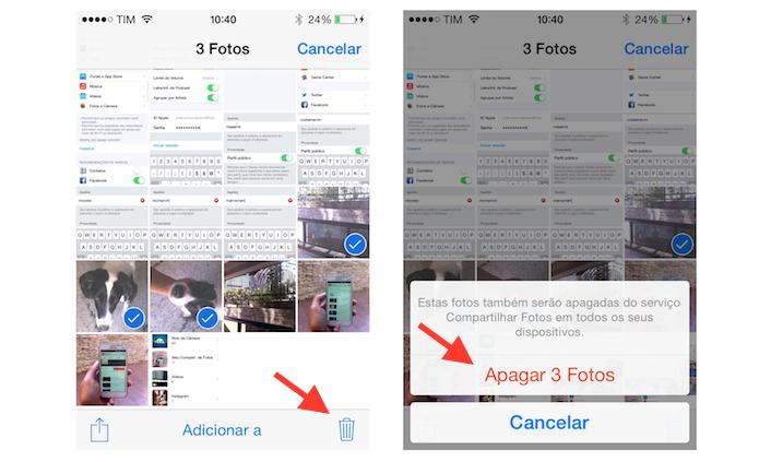 Selecionando e deletando as fotos que deseja apagar do compartilhamento com o iCloud (Foto: Reprodução/Marvin Costa)