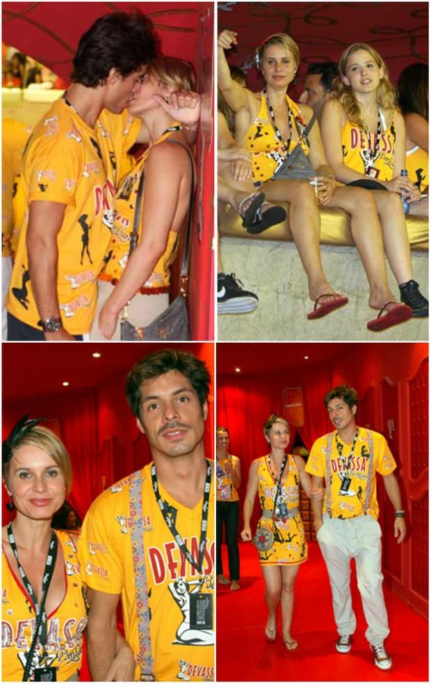 Paula Burlamaqui curtindo e beijando muito o modelo Rodrigo Peirão em um dia e no outro com o namorado, o ator Daniel Alvim (Foto: Reprodução)