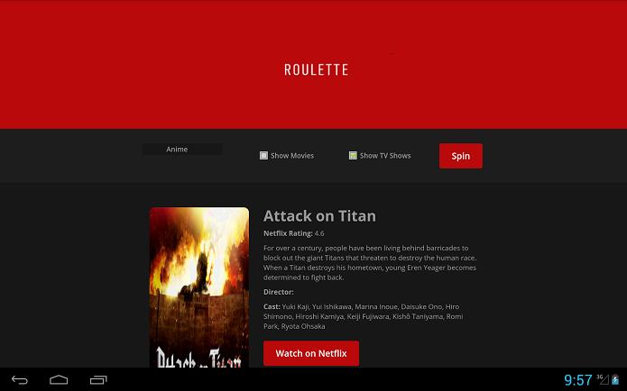 Netflix Roulette também está disponível como um app para o sistema Android (Foto: Divulgação/Google Play)